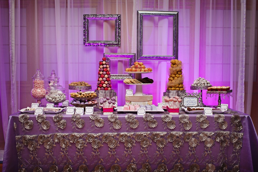 Wedding Reception Dessert Bar Silver Details