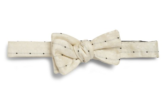 cream polka dot bow tie