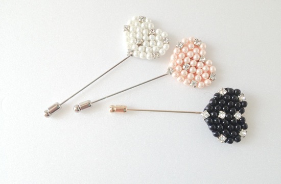Pearl Beaded Lapel Pins for Groom and Groomsmen