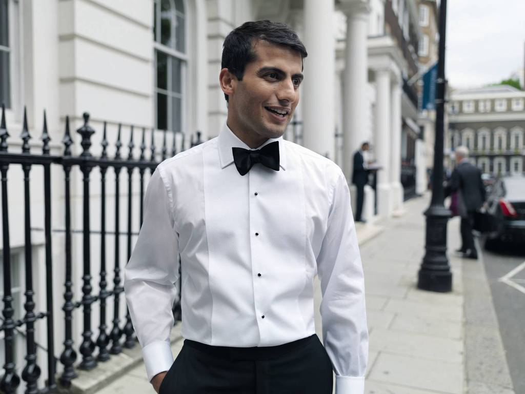Dapper Black Tie Groom with Shirt Studs