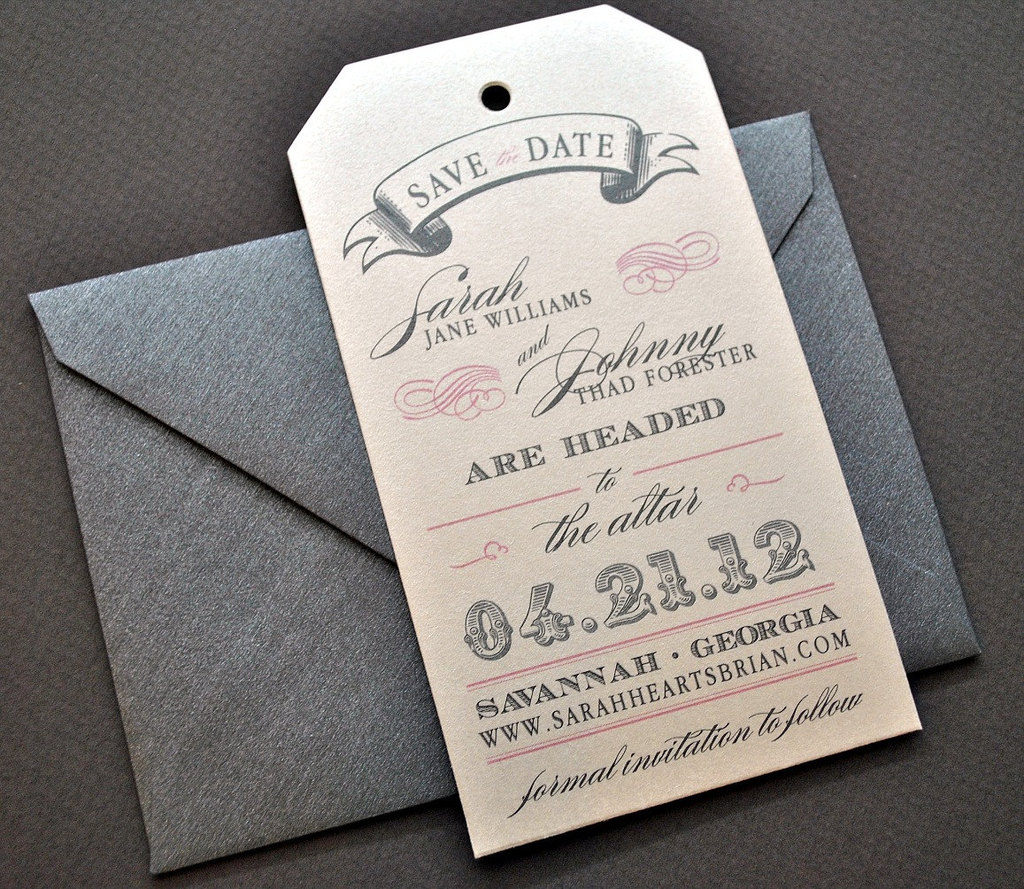 Romantic Save The Date Luggage Tags - Luggage tag save the date template