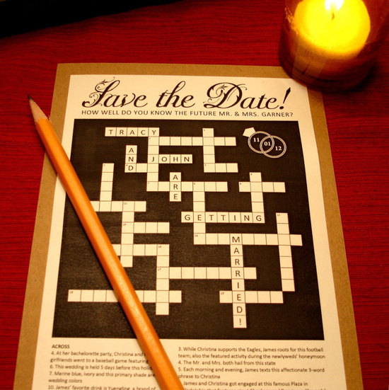 Crossword Puzzle Wedding Save the Date