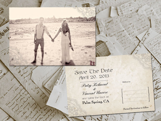 Vintage Postcard Wedding Save the Date with Engagement Photo