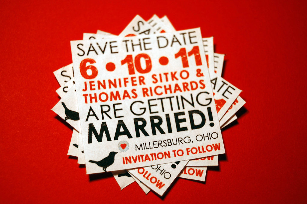 Wedding Save the Date Stickers Red Black Tan