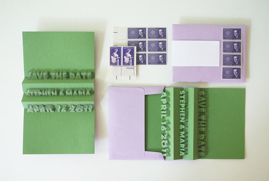 Green Purple Wedding Save the Date vintage pop up