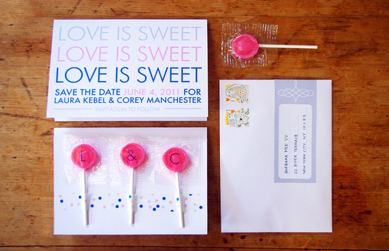 Sweet Wedding Save the Date with Lollipops