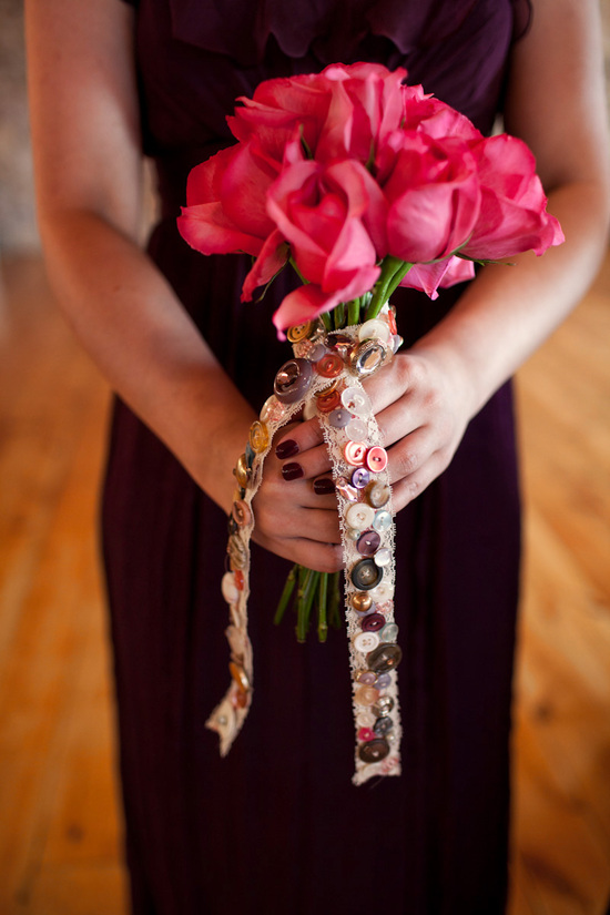 Hot Pink Roses Bridesmaid Bouquet