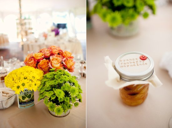 Handmade Wedding with Vintage Details Bright Centerpieces