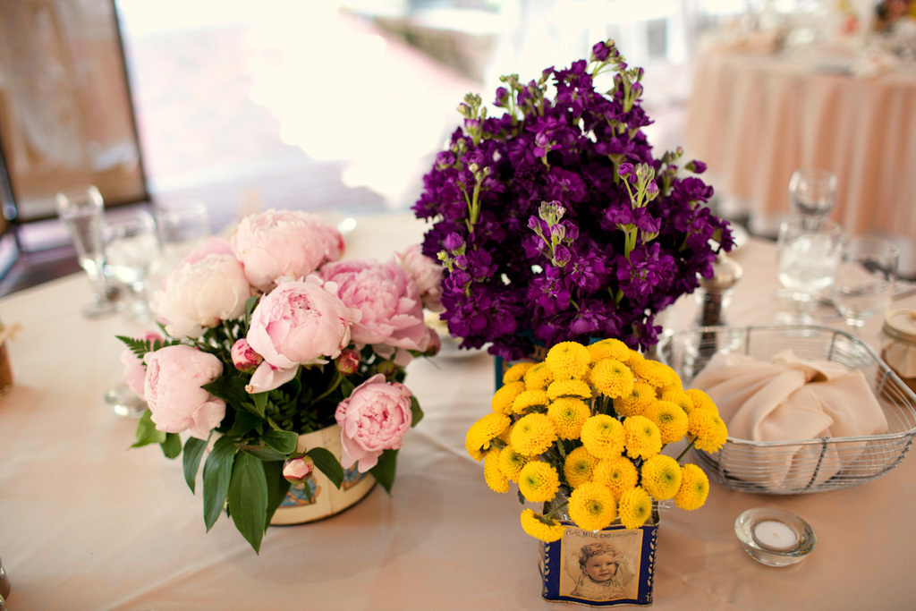Purple pink yellow wedding flower centerpieces mightylinksfo