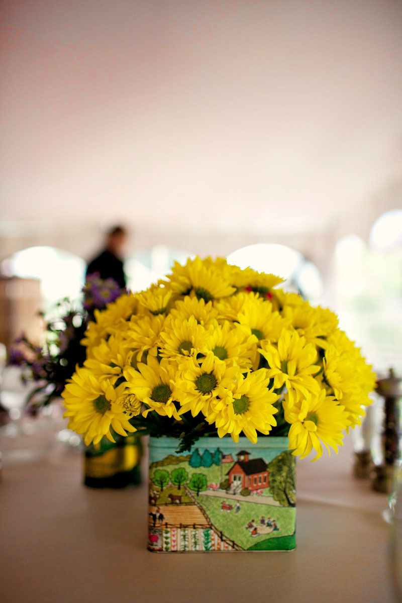 Purple Pink Yellow Wedding Flower Centerpieces