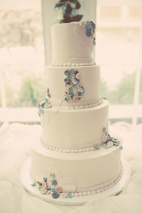 Four Tier Wedding Cake Handmade Vintage with Buttons and lace