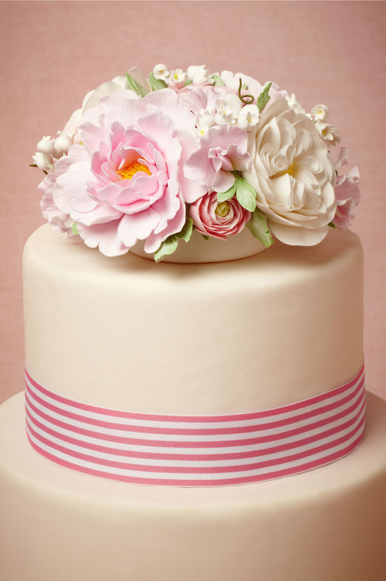 Romantic Wedding Cake Topper Pastel Flowers