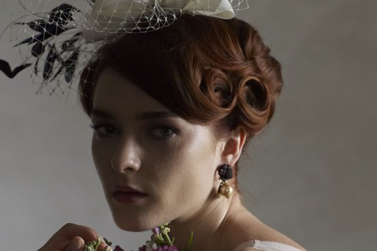 Vintage Wedding Updo with Finger Waves