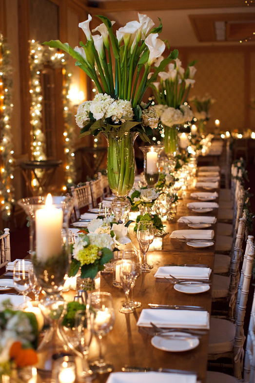 Elegant Ivory Green And Black Wedding Reception Centerpiece