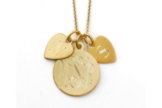 Gold Pendant Necklace for Brides with Engraved Monogram