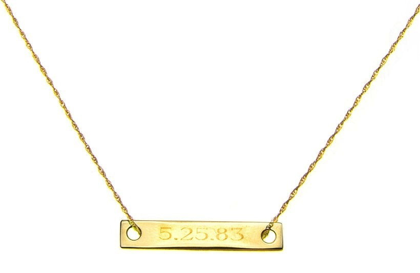 Gold Necklace with Engraved Wedding Date