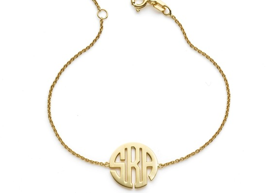 Gold Monogram Bridal Bracelet