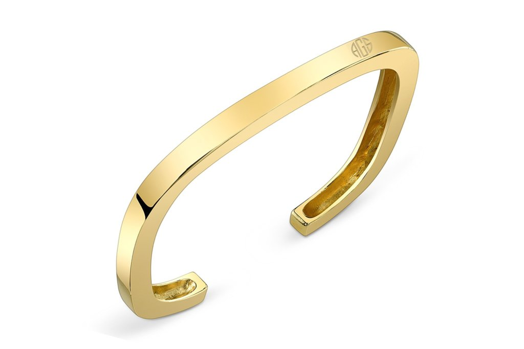 Gold Bangle Bracelet with Engraved Monogram