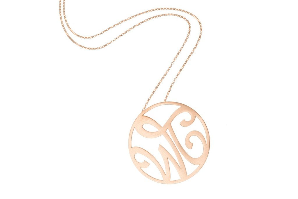 Rose-gold-bridal-necklace-with-monogram.full