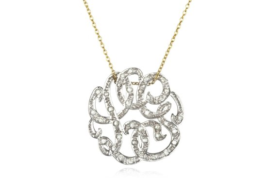 Gold Necklace with Diamond Monogram Pendant