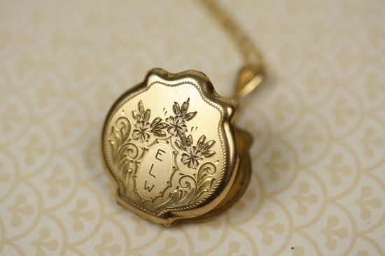 Vintage Monogram Gold Locket