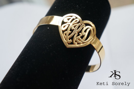 Gold Bridal Bracelet with Monogram in Heart