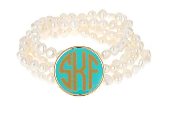 Pearl bridal bracelet with something blue monogram charm