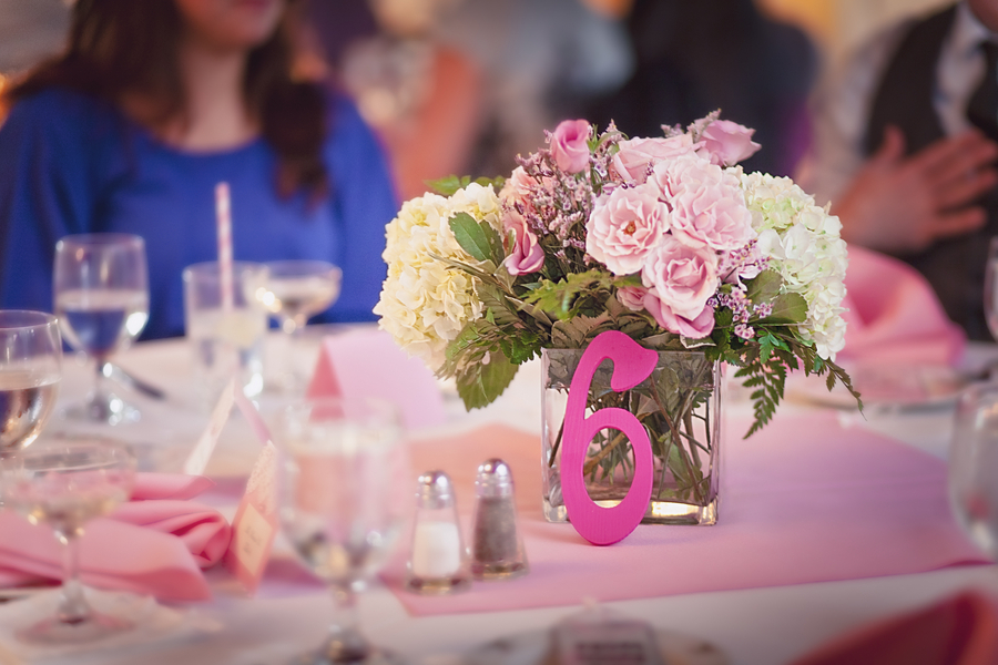 Romantic pink wedding reception decor simple centerpieces