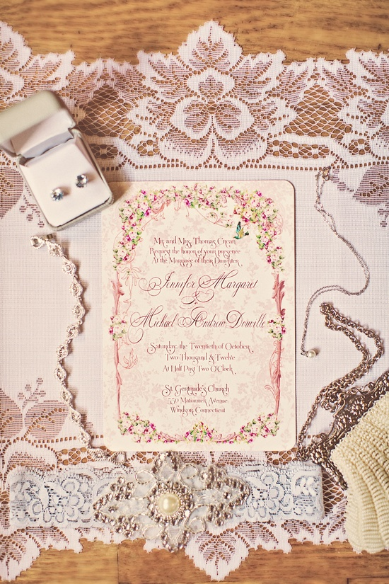 Romantic Wedding Invitations with Vintage Lace Details