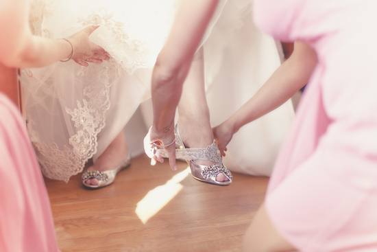 Bride Gets Ready with Help from Bridesmaids