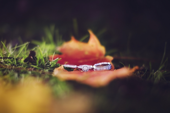Engagement Ring and Wedding Bands for Fall Wedding