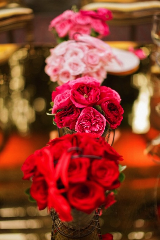 romantic ombre centerpieces at reception
