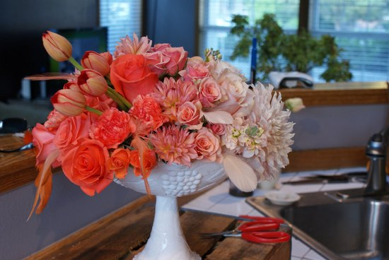 Peach Coral Ombre Wedding Centerpiece