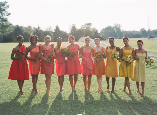 Ombre Bridesmaids Coordinating with Bouquets
