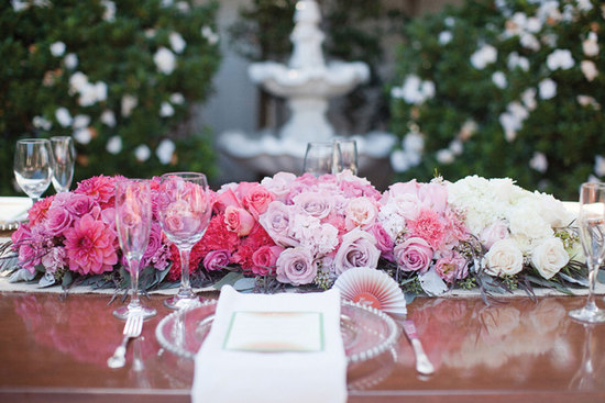 Ombre Wedding Table Flower Arrangement