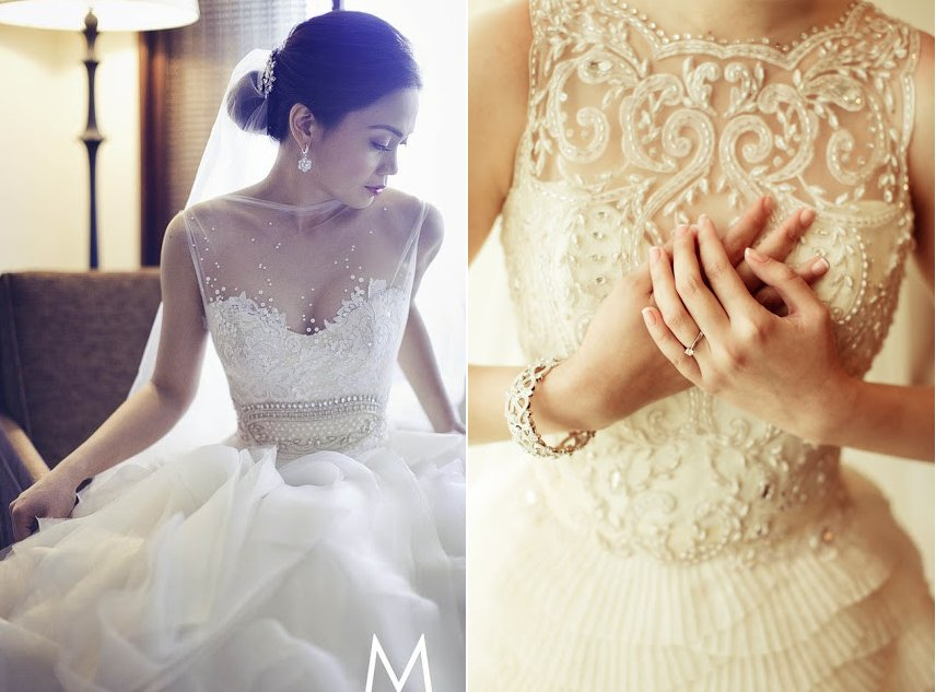 Beaded Illusion Neckline Wedding Dress