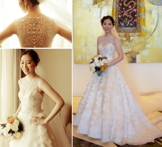 Beaded Illusion Neckline Wedding Dress 2