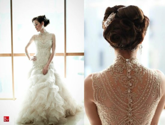Beaded Illusion Neckline Wedding Dress 4