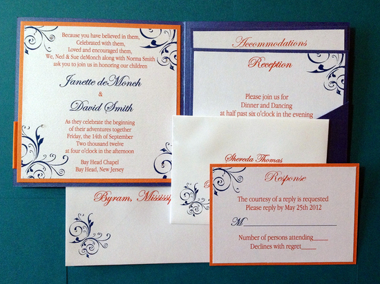 Orange and Blue Invitations