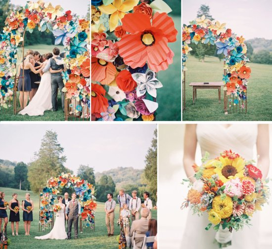 photo of Paper Flowers Eco Wedding Inspiration