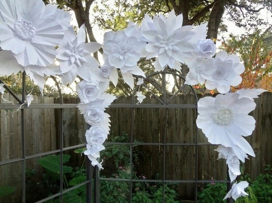 White paper flower wedding ceremony backdrop