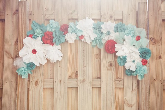 Red white teal paper flowers for wedding decor