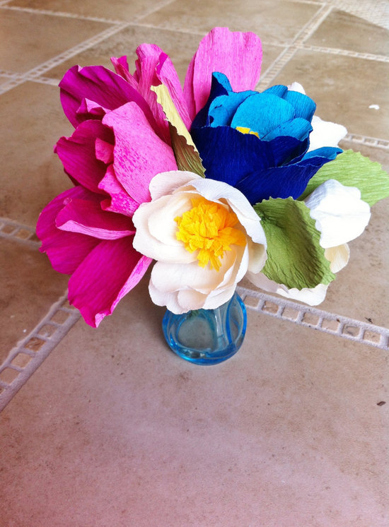 bright wedding flowers made from eco paper