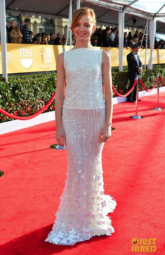 White Beaded Gown at 2013 SAG Awards