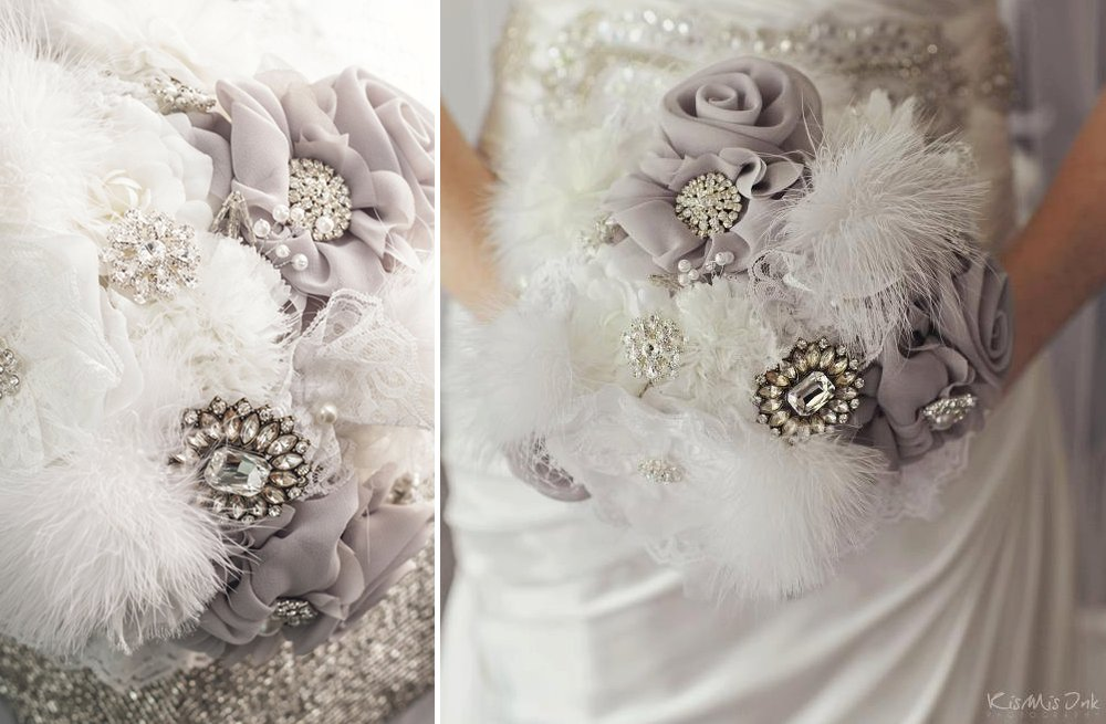 Feather Wedding Finds Great Gatsby Vintage Theme Bouquet