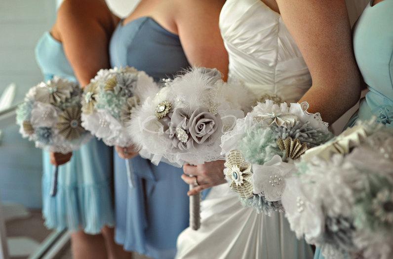 Alternative Wedding Flowers Feather Fabric Bouquets