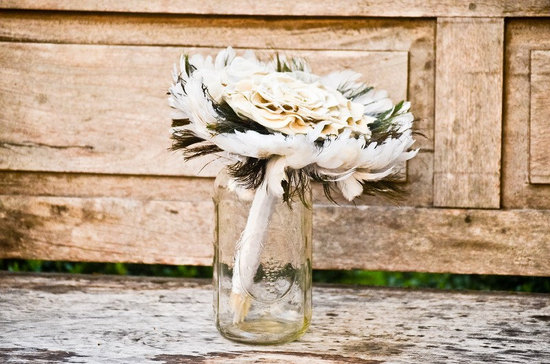 Feather Wedding Bouquet in Mason Jar