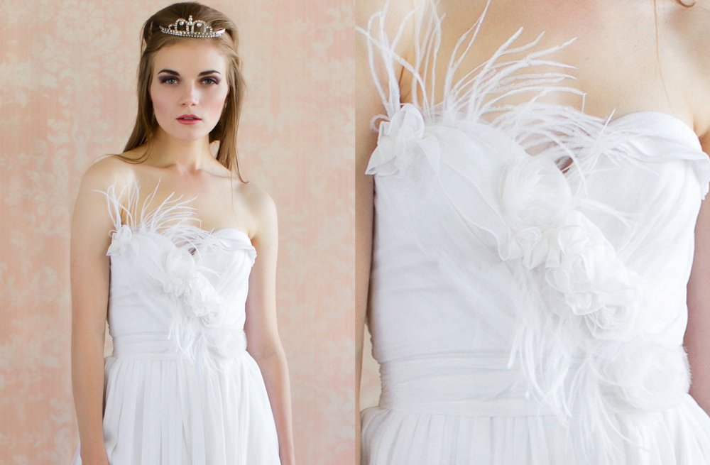 Feather Wedding Finds Great Gatsby Vintage Theme Bridal Gown