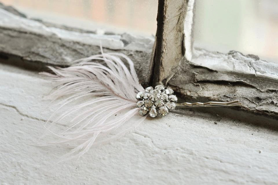 Feather Brooch Wedding Hair Pin