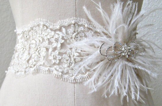 Feather and Lace Bridal Sash